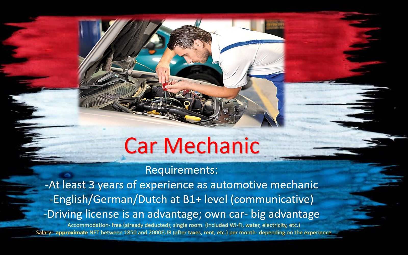 Jobs Netherlands Work Holland Car mechanic Technic job work holland the Netherlands Amsterdam, Eindhoven, Rotterdam, Haarlem