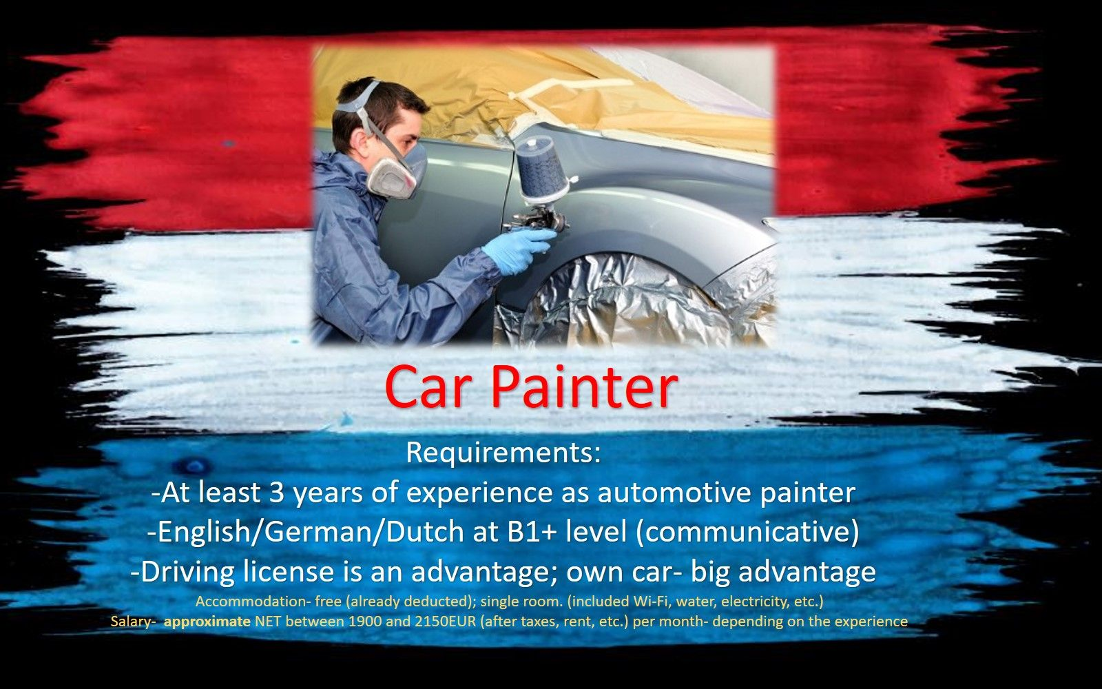 Jobs Netherlands Work Holland Car Automotive painter job work holland the Netherlands Amsterdam, Eindhoven, Rotterdam, Haarlem