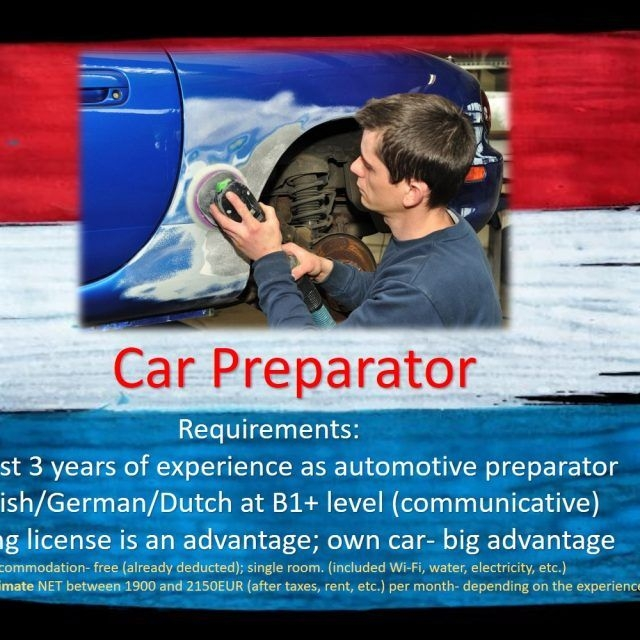 Jobs Netherlands Work Holland Car Automotive preparator prepare job work holland the Netherlands Amsterdam, Eindhoven, Rotterdam, Haarlem