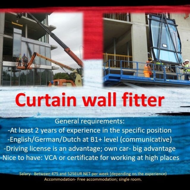 Curtain wall fitter job work in the Netherlands Holland Amsterdam Rotterdam Enschede Hoofddorp DJOBS