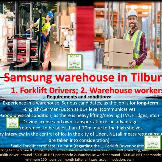 Forklift and Warehouser worker employee- Samsung, Tilburg job work Holland the Netherlands Logistics Order picker forklift driver heftruck