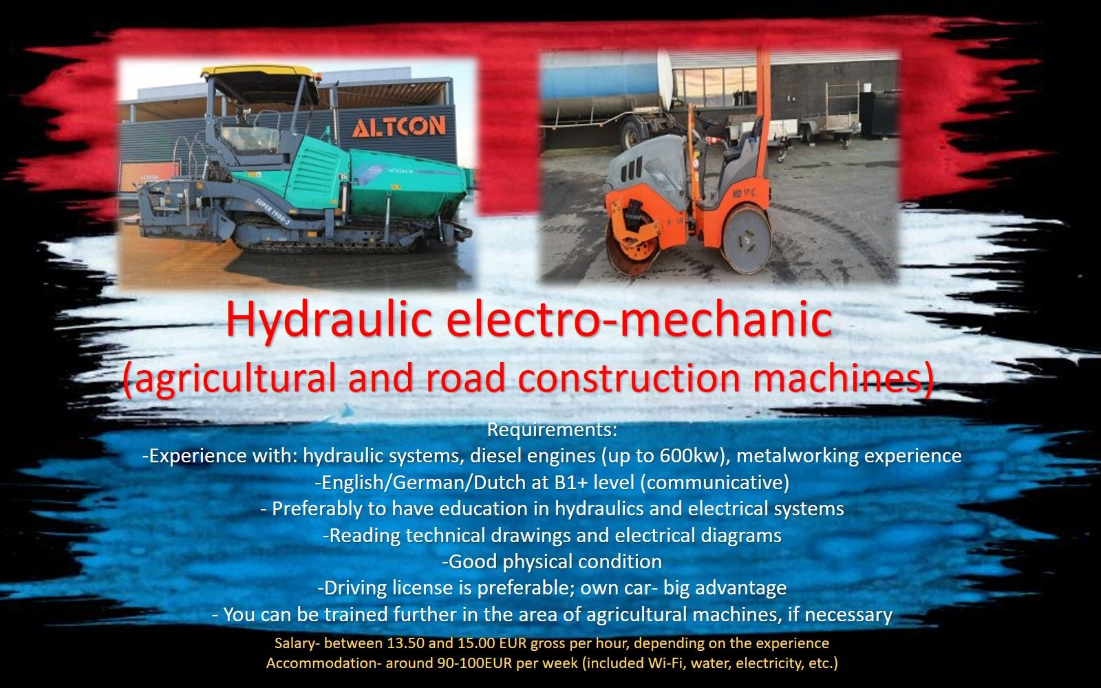 Hydraulic electro-mechanic job work in Holland Amsterdam Rotterdam Eindhoven