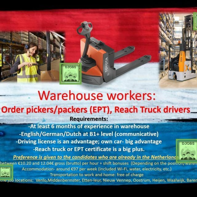Order picker (EPT), Reach truck drivers job work Holland the Netherlands Eindhoven