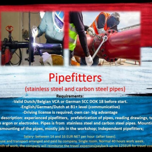 Jobs Netherlands Work Holland, Amsterdam, Rotterdam, Eindhoven, Tilburg, Arnhem, Den Hague, Experienced pipefitter, Pipefitters, job, work in the Netherlands Holland Amsterdam, Eindhoven, Rotterdam, Haarlem, Pipes, Prefabrication of pipes, Mounting  pipes,  Dismounting  pipes, Pipefitter job, Pipefitter helper jobs