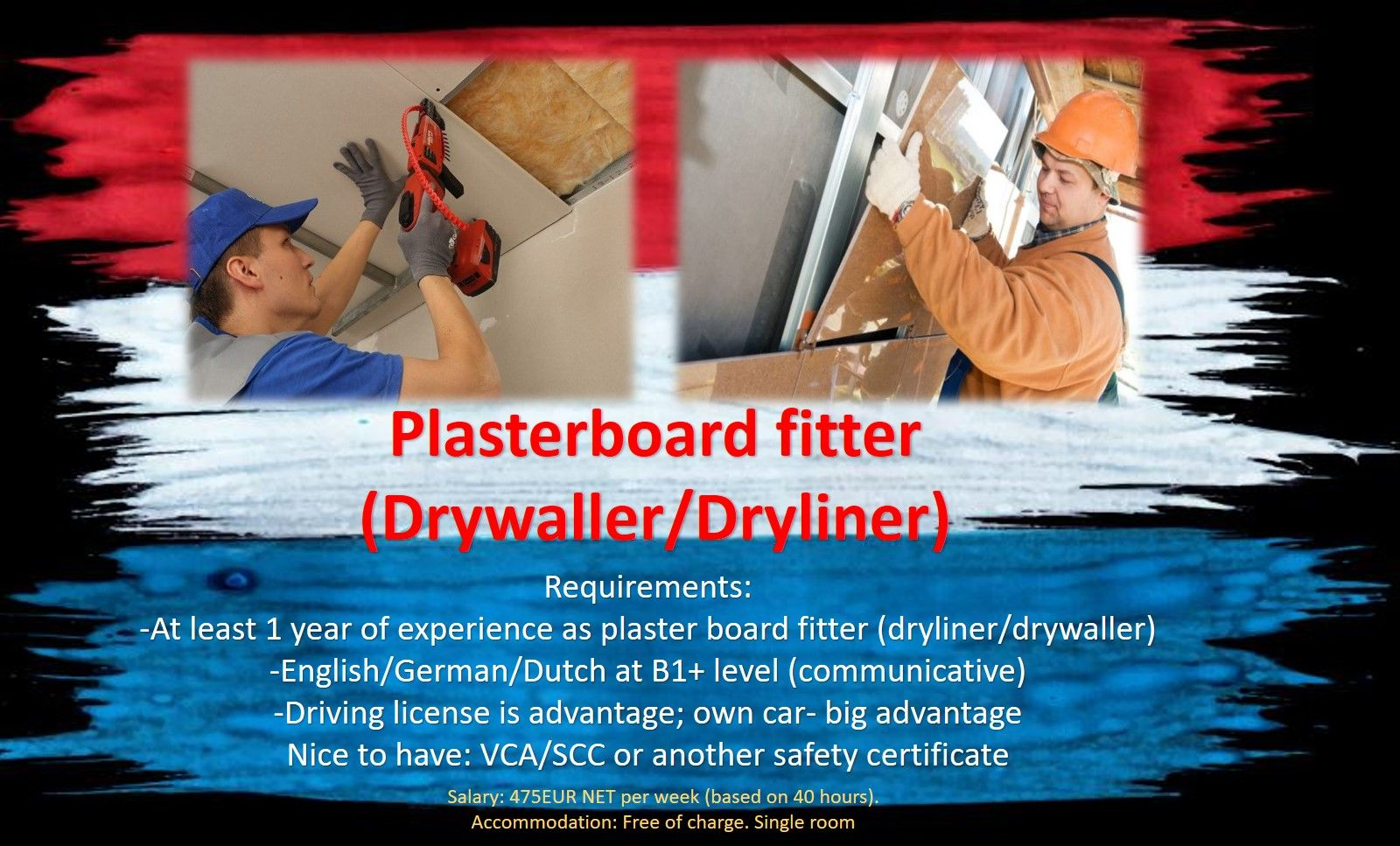 Plasterboard fitter  dryliner drywaller job work Holland, the Netherlands Rotterdam, Amsterdam, Eindhoven