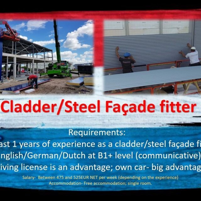 Steel facade fitter cladder job work in the Netherlands Holland Amsterdam