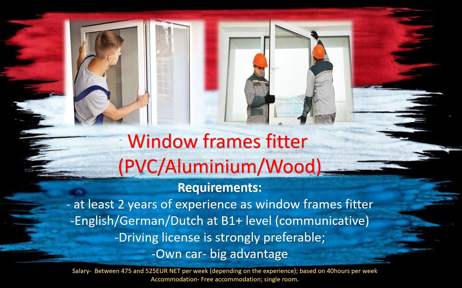 Jobs Netherlands Work Holland Window frames fitter job work in the Netherlands Holland Amsterdam, Eindhoven, Rotterdam, Haarlem